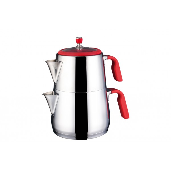 Teekessel & TeekannenEva Premium Teekannen Set 3,0L 18/10 Edelstahl Rot Neva