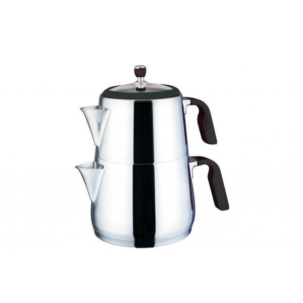 Teekessel & TeekannenEva Premium 3,0L Teekannen Set 18/10 Edelstahl Schwarz Neva N2315