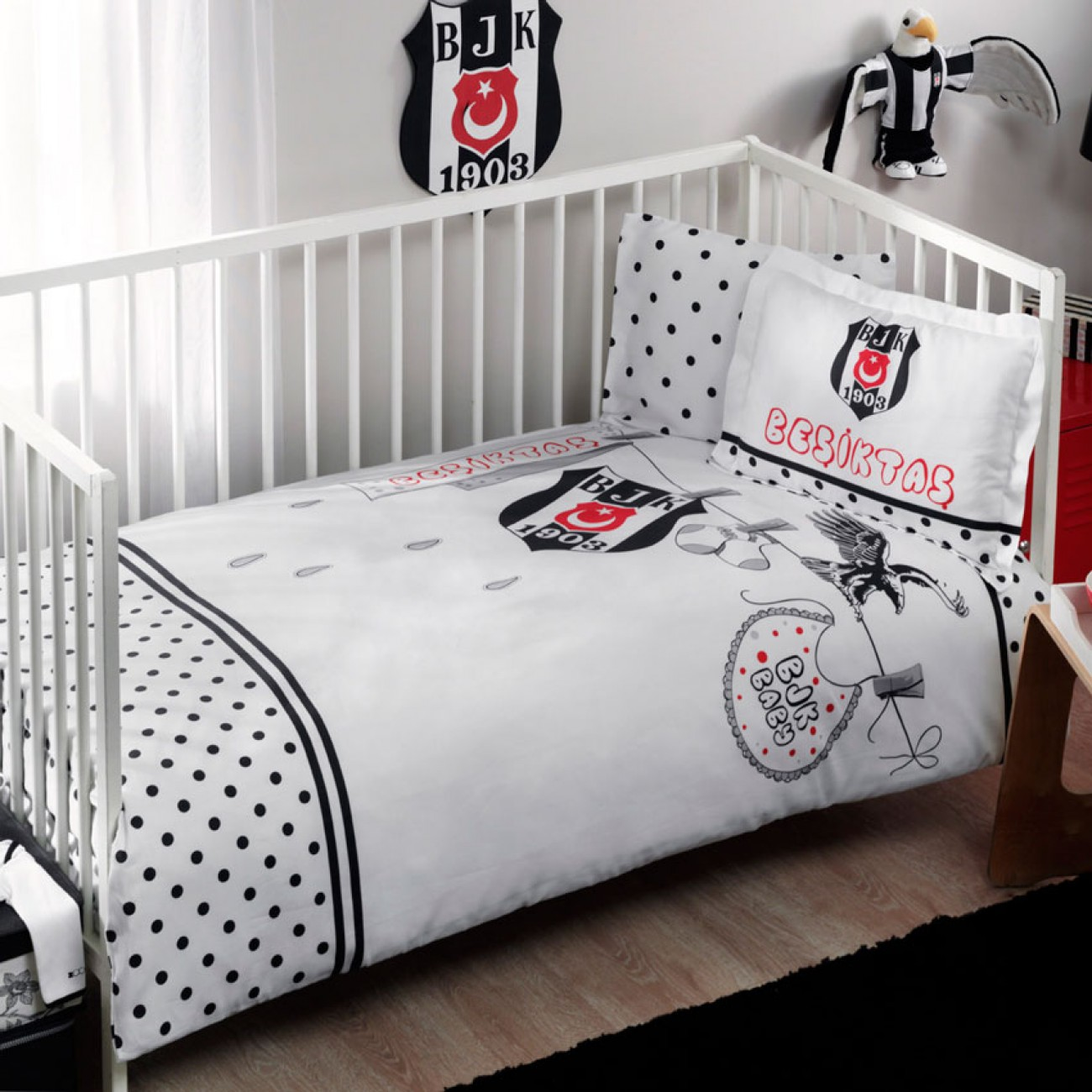 tac baby bettw sche set besiktas fanatik baby. Black Bedroom Furniture Sets. Home Design Ideas